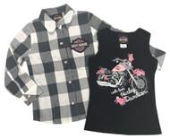 Harley-Davidson® Little Girls' Glitter Tank & Long Sleeve Plaid Shirt Set 1033657 - Wisconsin Harley-Davidson