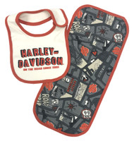 Harley-Davidson® Baby Boys' Road Map Bib & Burp Cloth Newborn Set 7053605 - Wisconsin Harley-Davidson