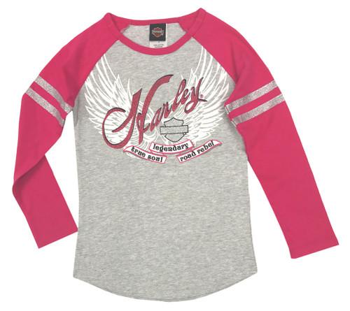 Harley-Davidson® Big Girls' Glitter Raglan Long Sleeve Tee, Gray/Pink 1044541 - Wisconsin Harley-Davidson