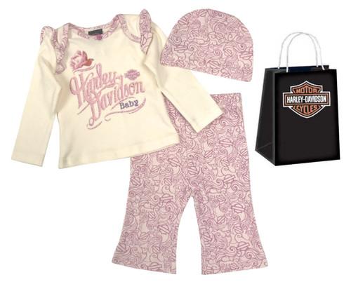 Harley-Davidson® Baby Girls' Floral 3 Piece Gift Set w/ Gift Bag, Cream 2503543 - Wisconsin Harley-Davidson