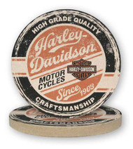 Harley-Davidson® High Grade Sandstone Coaster Set, Two Pack 4 inch Set CS132864 - Wisconsin Harley-Davidson