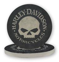 Harley-Davidson® Hubcap Skull Sandstone Coaster Set, Two Pack 4 inch Set CS102988 - Wisconsin Harley-Davidson