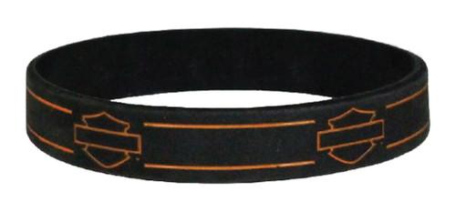Harley-Davidson® Debossed Blank Bar & Shield Silicone Wristband, Black WB114464 - Wisconsin Harley-Davidson