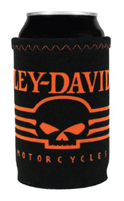 Harley-Davidson® Linear Skull Neoprene Can Wrap, Black & Orange CW02764 - Wisconsin Harley-Davidson