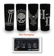 Harley-Davidson® Dark Custom Ceramic Shot Glasses, Set of 4, 2.5 oz. SG25288 - Wisconsin Harley-Davidson