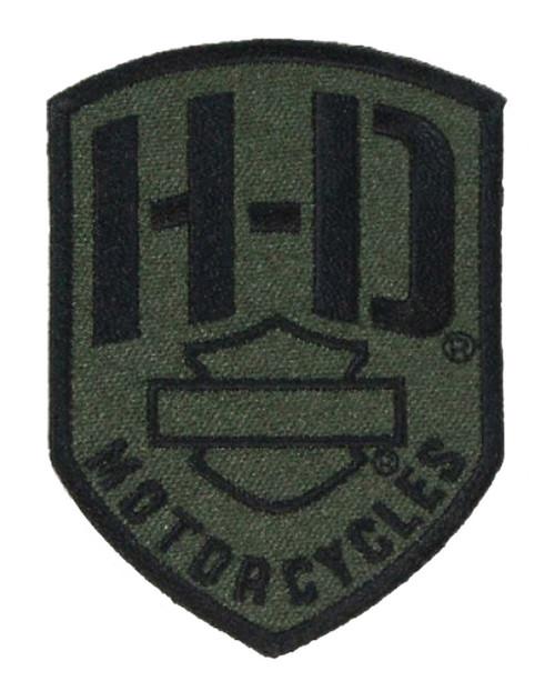 Harley-Davidson® Badge H-D Emblem Patch, XS 2.375 x 3.25 inch, Olive EM475531 - Wisconsin Harley-Davidson