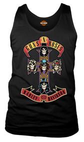 Harley-Davidson® Men's Guns N' Roses AFD Cross Sleeveless Muscle Tee, Black - Wisconsin Harley-Davidson