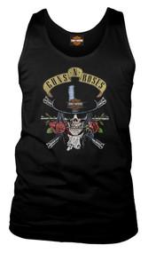 Harley-Davidson® Men's Guns N' Roses Top Hat Sleeveless Muscle Tee, Solid Black - Wisconsin Harley-Davidson
