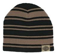 Harley-Davidson® Men's Striped H-D Embroidered Knit Beanie Hat Black, Tan KN24203 - Wisconsin Harley-Davidson