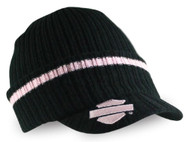Harley-Davidson® Women's Striped H-D Embroidered Knit Cap, Black & Pink KN00891 - Wisconsin Harley-Davidson