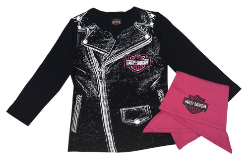 Harley-Davidson® Baby Girls' Biker Babe Tee & Doo Rag Infant Starter Kit 2513717 - Wisconsin Harley-Davidson