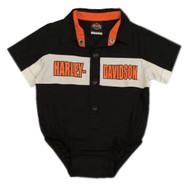 Harley-Davidson® Baby Boys' Short Sleeve Woven Shop Shirt Newborn Creeper 3050783 - Wisconsin Harley-Davidson