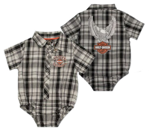 Harley-Davidson® Baby Boys' Plaid Short Sleeve Woven Infant Shop Creeper 3060795 - Wisconsin Harley-Davidson
