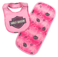 Harley-Davidson® Baby Girls' Glittery Bib & Burp Cloth Newborn Set, Pink 7003727 - Wisconsin Harley-Davidson