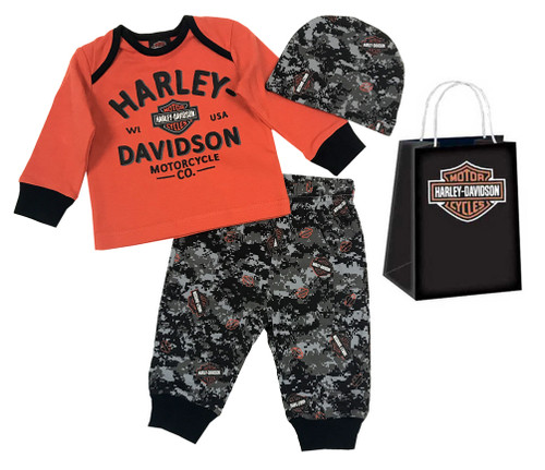 Harley-Davidson® Baby Boys' Camo B&S 3 Piece Infant Gift Set w/ Gift Bag 2553709 - Wisconsin Harley-Davidson