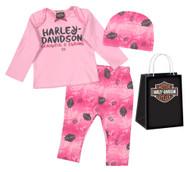 Harley-Davidson® Baby Girls' Glittery 3 Piece Gift Set w/ Gift Bag, Pink 2503725 - Wisconsin Harley-Davidson