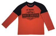 Harley-Davidson® Little Boys' Interlock Double Long Sleeve Shirt, Orange 1083755 - Wisconsin Harley-Davidson