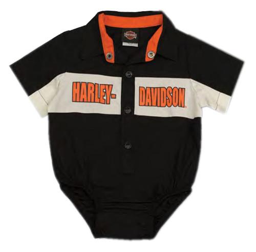 Harley-Davidson® Baby Boys' Short Sleeve Woven Shop Shirt Infant Creeper 3060783 - Wisconsin Harley-Davidson