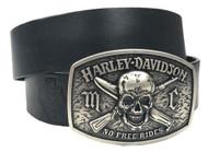 Harley-Davidson® Men's No Free Ride Leather Belt w/ Bar & Shield HDMBT10860 - Wisconsin Harley-Davidson