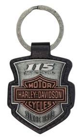 Harley-Davidson® 115th Anniversary 2D Die Struck Keychain, Antique Finish KY26023 - Wisconsin Harley-Davidson