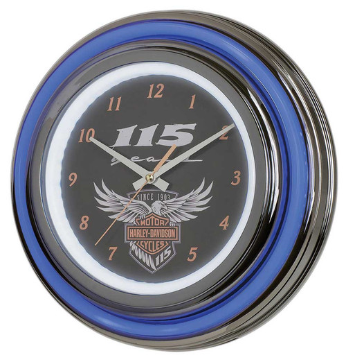 Harley-Davidson® 115th Anniversary Neon Clock LED Limited Edition HDL-16637 - Wisconsin Harley-Davidson