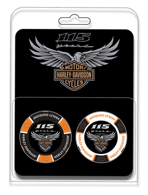 Harley-Davidson® 115th Anniversary Collector 2pc Poker Chips Limited Edition 678D - Wisconsin Harley-Davidson