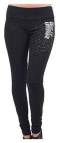Harley-Davidson® Women's Harley Daredevil Motto Cut Embellished Leggings, Black - Wisconsin Harley-Davidson