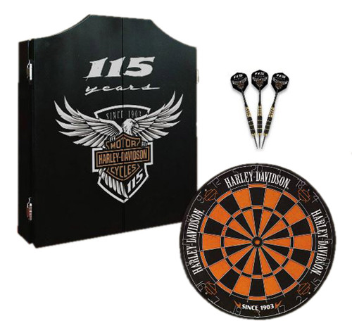 Harley-Davidson® 115th Anniversary Dart Board Kit Limited Edition, Black 69115 - Wisconsin Harley-Davidson