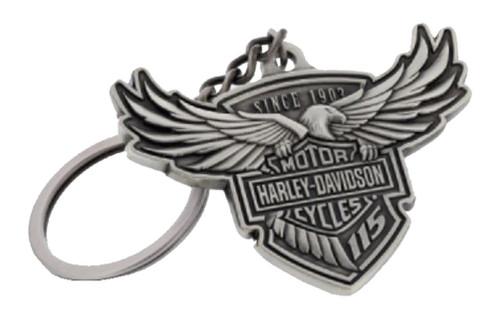 Harley-Davidson® 115th Anniversary Key Chain Custom Shaped, Silver HDKD115 - Wisconsin Harley-Davidson