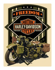 Harley-Davidson® Freedom Green Military Embossed Tin Sign, 13 x 17 inches 2011351 - Wisconsin Harley-Davidson