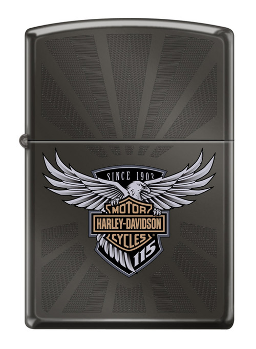 Harley-Davidson® 115th Anniversary Black Ice Engraved Zippo Lighter, Black 29556 - Wisconsin Harley-Davidson