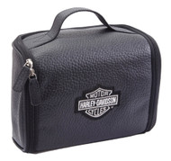 Harley-Davidson® Top Grain Leather Bar & Shield Black Toiletry Kit 99508 BLK - Wisconsin Harley-Davidson