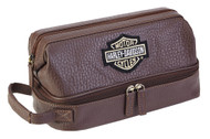 Harley-Davidson® Deluxe Top Grain Bar & Shield Leather Toiletry Kit 99509 Brown - Wisconsin Harley-Davidson