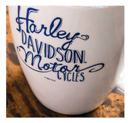 Harley-Davidson® Bistro Lustre Ceramic Coffee Cup, White 18 oz. 3WLM4912 - Wisconsin Harley-Davidson
