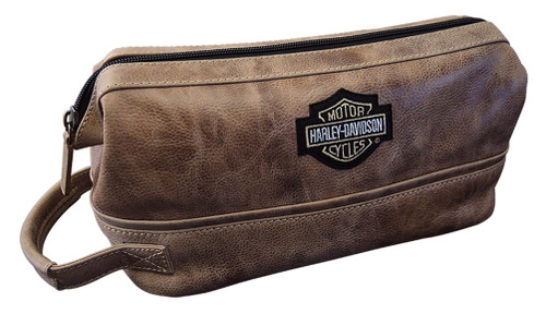 Harley-Davidson® Deluxe Bar & Shield Leather Toiletry Kit, Palomino 99609-PAL - Wisconsin Harley-Davidson