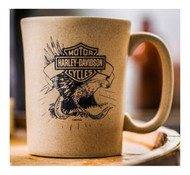 Harley-Davidson® Speckle B&S Eagle Ceramic Coffee Cup, Natural 15 oz. 3SMN4907 - Wisconsin Harley-Davidson