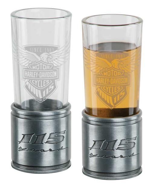 Harley-Davidson® 115th Anniversary Metal Shooter Shot Glass Set, 2 oz. HDX-98704 - Wisconsin Harley-Davidson