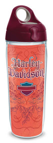 Harley-Davidson® Orange Script Rose Water Bottle w/ Burgundy Lid, 24 oz. 1274244 - Wisconsin Harley-Davidson
