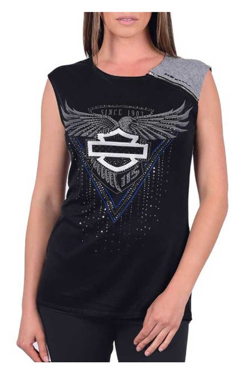 Harley-Davidson® Womens 115th Anniversary Embellished Sleeveless Scoop Neck Shirt - Wisconsin Harley-Davidson