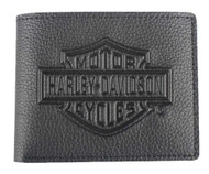 Harley-Davidson® Men's Embossed B&S Logo Leather Billfold Wallet XML3554-BLACK - Wisconsin Harley-Davidson