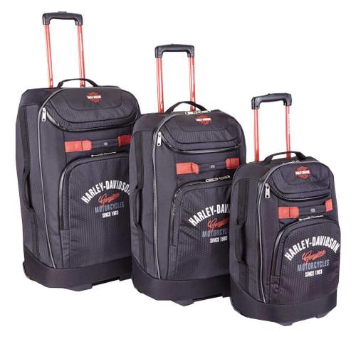 Harley-Davidson® 3 Piece Luggage Set Tail of The Dragon Pullman Wheeling Black - Wisconsin Harley-Davidson