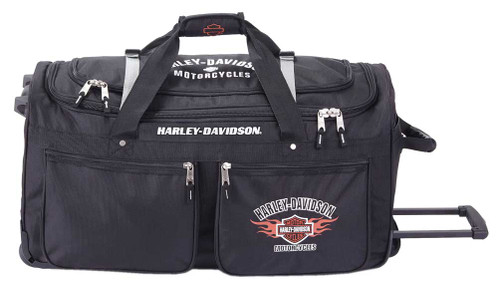 "Harley-Davidson® 21"" Wheeling 15-Pocket Carry-On Duffel Bag, Black 99521-BLACK - Wisconsin Harley-Davidson"