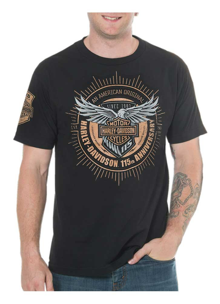 Harley Davidson Men S 115th Anniversary Insignia Short Sleeve T