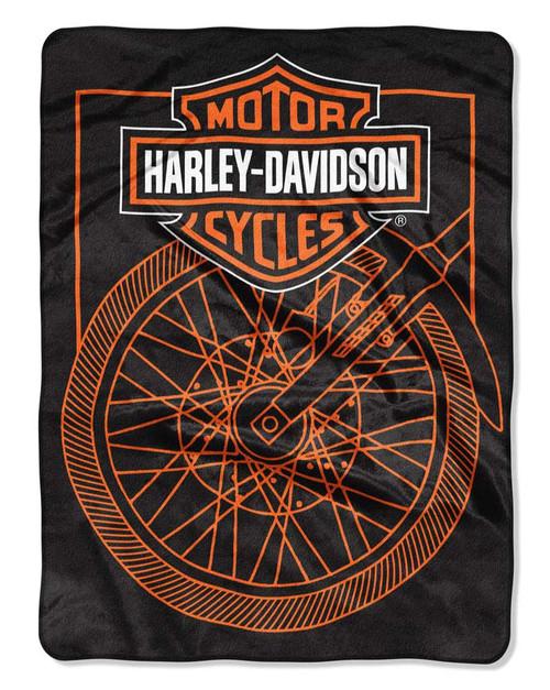 Harley-Davidson® Salvage Wheel Raschel Blanket, 60 x 80 inches, Black NW949157 - Wisconsin Harley-Davidson