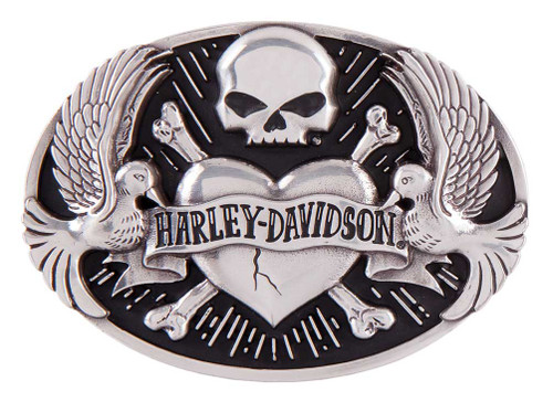 Harley-Davidson® Women's Sculpted Tattoo Belt Buckle, Antique Silver HDWBU11408 - Wisconsin Harley-Davidson