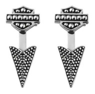 Harley-Davidson® Women's Arrowhead Beaded Ear Jackets, Sterling Silver HDE0455 - Wisconsin Harley-Davidson