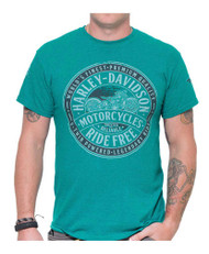 Harley-Davidson® Men's Token Graphic Short Sleeve T-Shirt, Antique Jade Blue - Wisconsin Harley-Davidson