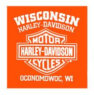 Harley-Davidson® Men's Strokes H-D Crew Neck Short Sleeve Tee, Safety Orange - Wisconsin Harley-Davidson