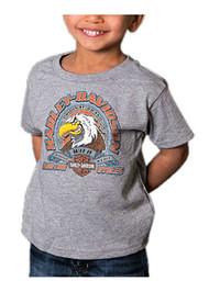 Harley-Davidson® Little Boys' Attitude Eagle Short Sleeve Toddler T-Shirt, Gray - Wisconsin Harley-Davidson