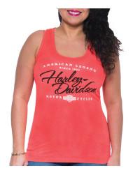 Harley-Davidson® Women's Ink Embellished Burnout Sleeveless Tank Top, Coral - Wisconsin Harley-Davidson